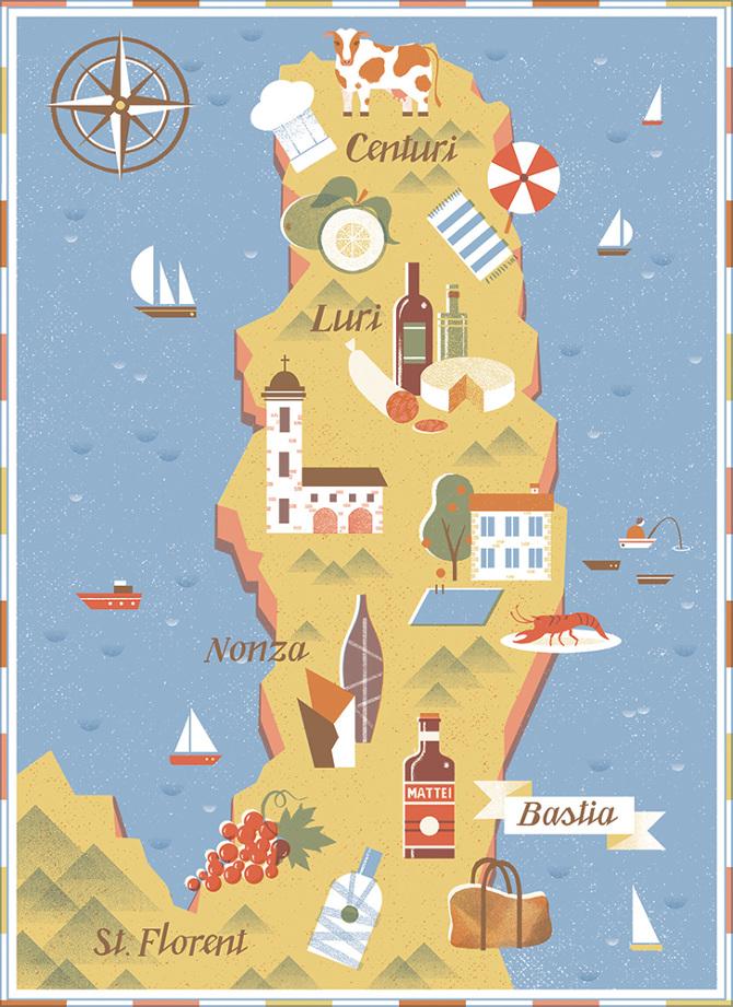 Cap Corse Map - Tatiana Boyko