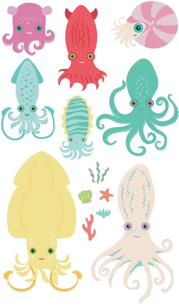 charming cephalopods d2design illustration rh d2design us Evil Octopus Blanket Octopus